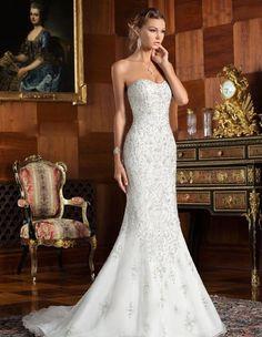 Bling Strapless  Long Formal Mermaid Lace Wedding Dress