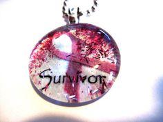 Art Pendant Necklace Cancer Survivor Glass by TheWoodsSecretGarden