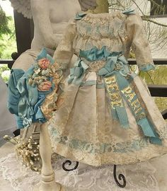Pretty French Bebe Silk Costume with matching Bonnet - WhenDreamsComeTrue #dollshopsunited