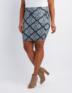 Plus Size Printed Bodycon Mini Skirt | Charlotte Russe