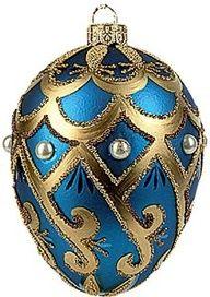 Blue Pearl Faberge-Inspired Easter Egg Ornament