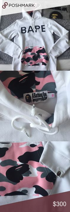 A Bathing Ape BAPE sweater with hoodie It's from BAPE Newyork! Limited addition it's Unique one-of-a-kind!!!  % Authentic BAPE  *A Bathing Ape white pink military sweater with hoodie. Never been used! New! No return. No trade! A Bathing Ape Sweaters