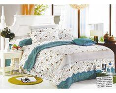 Lenjerie de pat bumbac satinat Pucioasa alb si turcoaz cu floricele Comforters, Satin, Blanket, Bed, Furniture, Home Decor, Textiles, Homemade Home Decor, Stream Bed