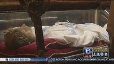 People lined the sidewalk down the block Wednesday waiting to see the major relics of Saint Maria Goretti.