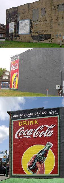 (Coke Code 76) 미국 Monroe Laundry Company의 빛바랜 코카-콜라 벽화를 새롭게 부활시켰네요! 비포&애프터 공개!
