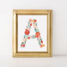 Beautiful floral watercolor letters A through Z  Please select the letter you want from the letter options drop down menu.  SIZES: This print is available in the following sizes of: 5x7, 8x10, or 11x14 Dont see the you size you want listed? Message me & we can figure something out.