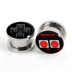 Game Console Button Plugs, Stainless Steel Flare Flesh Tunnel Ear Plug Earring Stretcher Plug Taper Tunnel by EarsPlugs on Etsy