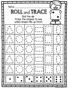 GEOMETRY roll and trace NO PREP math center for kindergarten - common core aligned