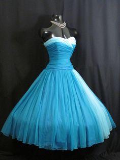 Vintage 1950's 50s Strapless BLUE Chiffon Organza Prom Party Wedding DRESS