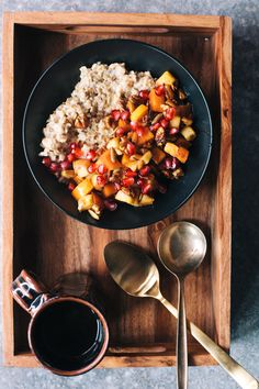 winter superfood oats with apples, persimmon, and pomegranate