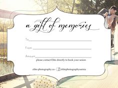 Gift Certificate Photography, Gift Certificate Template ...