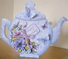 TEAPOT SHAPE CARD Petunias Decoupage Card Kit on Craftsuprint designed by Janet Briggs - made by Davina Rundle