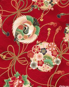Hyakka Ryoran 1000 Tsuri - Good Luck Ornaments - Berry Red/Gold