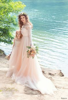 papilio 2017 bridal long sleeves off the shoulder sweetheart neckline heavily embellished bodice peach color romantic a line wedding dress chapel train (cockatiel) mv -- Papilio 2017 Wedding Dresses Colored Wedding Dress, Boho Wedding Dress, Bridal Dresses, Wedding Gowns, Flower Girl Dresses, 2017 Wedding, 2017 Bridal, Peach Wedding Dresses, Chic Wedding
