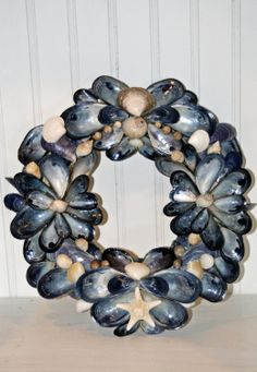 Coastal Shores Blue Mussel Shell Wreath. $50.00, via Etsy.
