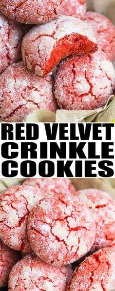 easy RED VELVET CRINKLE COOKIES recipe from scratch are made with simple ingredients. These red velvet cookies are crispy on the outside but soft on the inside. Baking Recipes Cupcakes, Healthy Cookie Recipes, Best Dessert Recipes, Dessert From Scratch, Cookie Recipes From Scratch, Recipe From Scratch, Red Velvet Cupcakes, Red Velvet Cookie Recipe, Small Desserts