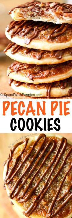 Pecan Pie Cookies – Spend With Pennies Pecan Pie Cookies! These have a deliciously sweet, caramel-y, nutty filling with a flaky pastry! Easy to make, easier to eat! Pecan Pie Cookies, Cookie Pie, Yummy Cookies, Pecan Pies, Macaron Cookies, Apple Pies, Cookie Jars, Sugar Cookies, Pecan Recipes