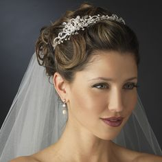 Freshwater Pearl and Crystal Side Accent Wedding Headband - just so lovely!