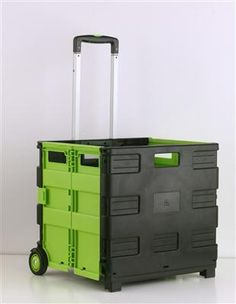 rolling cart blackgreen easily collapses for quick storage and features an extendable handle