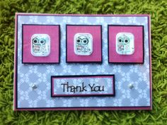 Thank you card with 3D owl sequin stickers by Bethany Looijenga