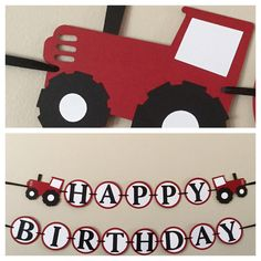 Red Tractor Happy Birthday Banner Ready to ship farm by scraptags