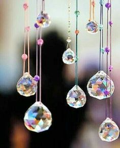 Hanging crystals - north east of room Carillons Diy, Sun Catchers, Dream Catchers, Motifs Perler, Diy Wind Chimes, Hanging Crystals, Beaded Curtains, Simple Pleasures, Mobiles