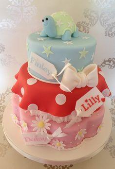 Triple Christening Cake for siblings