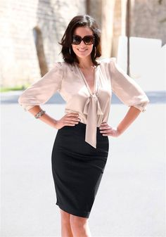 Black Satin Pencil Skirt and Ivory Satin Blouse Satin Blouses, Red Blouses, Pretty Shirts, Bow Blouse, Ruffle Blouse, Classic Style Women, Business Outfits, Business Wear, Beautiful Blouses