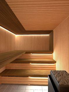 People have been enjoying the benefits of saunas for centuries. Spending just a short while relaxing in a sauna can help you destress, invigorate your skin Sauna Steam Room, Sauna Room, Spa Interior, Interior Design, Interior Garden, Le Roch Hotel, Sauna Lights, Modern Saunas, Sauna Hammam