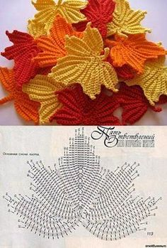 Really impressive crochet (and I'm not usually a crochet lover). Seems so r. - Crochet Clothing and Accessories Crochet Leaf Patterns, Crochet Leaves, Crochet Motifs, Knitted Flowers, Crochet Diagram, Crochet Chart, Crochet Designs, Crochet Doilies, Crochet Stitches
