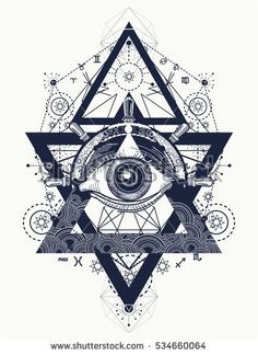 All seeing eye tattoo art vector. Freemason and spiritual symbols. Alchemy, medieval religion, occultism, spirituality and esoteric tattoo. Magic eye, compass and steering wheel t-shirt design