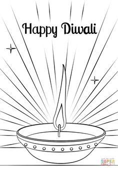Diwali Diya Coloring page - Alphabet Club - Aktuelle Bilder Pattern Coloring Pages, Free Printable Coloring Pages, Coloring Pages For Kids, Kids Colouring, Colouring Sheets, Diwali Greetings Quotes, Diwali Greeting Cards, Happy Diwali Photos, Diwali Pictures