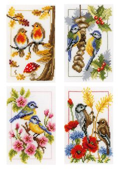 Four Seasons Birds, Set of 4 Cross Stitch Kit   sewandso