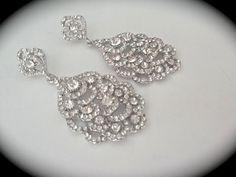 Bridal jewelry  Peacock  Rhinestone earrings  by QueenMeJewelryLLC