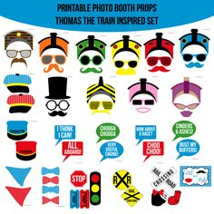 Instant Download Train Thomas the Tank Inspired Printable Photo Booth Prop Set — Amanda Keyt DIY Photo Booth Props & More!