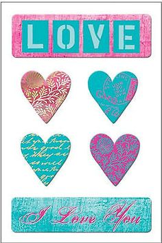 Christine Adolph I LOVE YOU CHIPBOARD SET scrapbooking 99 CENT SALE!
