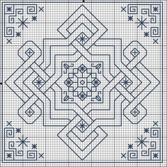 Knotwork Blackwork Biscornu Chart  There's some other really patterns on this site too.