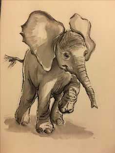 """Original Baby Elephant painting by Rebecca Rees. Ink wash and crow quill pen on vintage watercolor paper 12"""" x 18""""   rebeccarees@earthlink.net  http://www.redbubble.com/people/tranquilwaters?asc=u"""