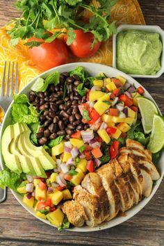 Avocado Cilantro Lime Dressing, Mango Avocado Salad, Salsa Salad, Cilantro Lime Shrimp, Salad Recipes For Dinner, Dinner Salads, Mango Chicken Salads, Mango Salsa Recipes