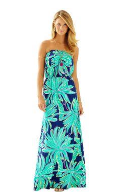 Marlisa Strapless Maxi Dress - Lilly Pulitzer Bright Navy Tiger Palm