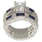 Antique Engagement Ring Cubic Z 175 Carat 24 Lab, Ring Set, Platinum Ring, Antique Engagement Rings, Deep Blue, Antique Jewelry, Sapphire, Wedding Rings, Crystals