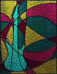 Stained Glass Guitar by Maureen Stewart, via Behance