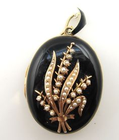 VICTORIAN HEAVY BLACK ENAMEL PEARL LOCKET 14K YELLOW GOLD PICTURES NECKLACE
