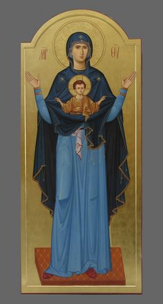 Virgin of the Sign Byzantine Icons, Byzantine Art, Religious Icons, Religious Art, Immaculée Conception, Greek Icons, Church Icon, Christian Artwork, Russian Icons