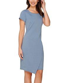 Slate Blue Cap-Sleeve Dress - Plus Too