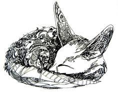 Fennec Fox Screen Print - Black. $20.00, via Etsy. I love this drawing - by TheIdofOdd on etsy