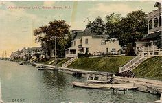 Ocean Grove, Wesley Lake, Gondola would have been used to ferry visitors to Asbury Park. Sauk City, Ocean Township, Asbury Park, Beach Images, Great Memories, Great Places, Postcards, History, World