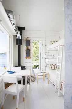 Stockholm Archipelago combined dining room and bedroom