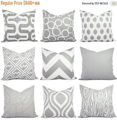 Grey Pillow Covers - Grey and White Throw Pillows - Decorative Pillows - Grey Euro Sham - Grey Pillows - Grey Couch Pillows Couch Pillow Covers, White Pillow Covers, Couch Pillows, Pillow Shams, Lumbar Pillow, Cushion Covers, White Decorative Pillows, White Throw Pillows, Decorative Pillow Covers