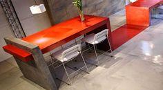 mesa doble microcemento rojo